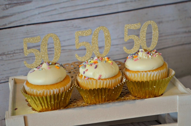 50th Birthday Cupcake Toppers 50 Anniversary Party Decorations Decor