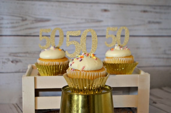 50th Birthday Cupcake Toppers 50