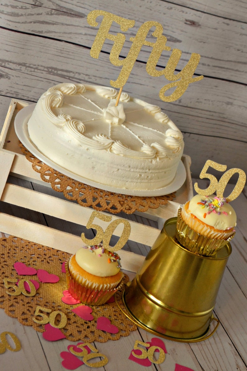 Fifty Cake Topper 50th Birthday
