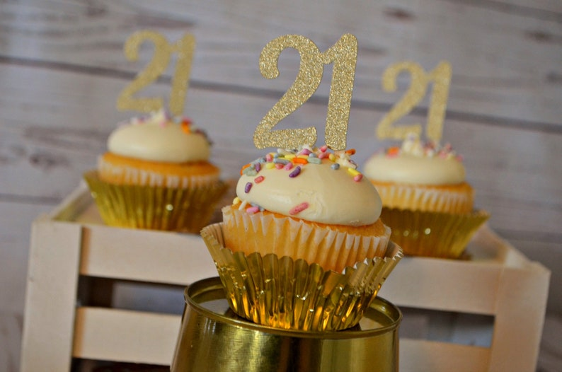 21st Birthday Cupcake Toppers 21