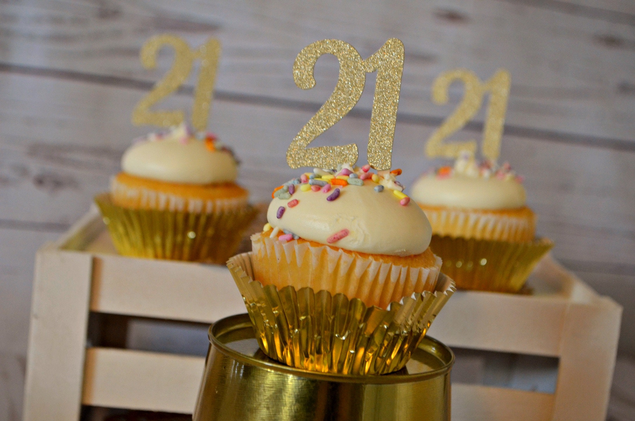 21st Birthday Cupcake Toppers 21 Cupcake Toppers 21st Etsy