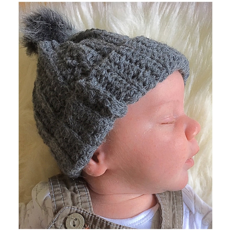 c4da72a1b86 NEWBORN Hand Croheted Grey Hat Matching Mummy And Me Grey Faux