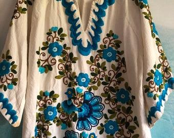 Tie dye boho top Pastel top loose boho top-blue boho top-blue silk top-boho silk top tie dyed top-dressy boho top Silk boatneck top