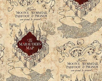 End Of Bolt Harry Potter The Marauders Map Cotton Quilting Fabric