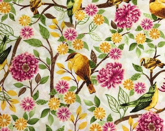 SALE - Cream Small Bird Toss from the Jardiniere Collection by Jennifer Brinley for Studio E Fabrics, Floral Bird, Wedding Fabric
