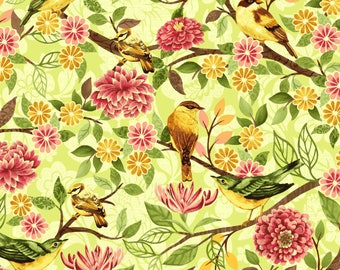SALE - Green Small Bird Toss from the Jardiniere Collection by Jennifer Brinley for Studio E Fabrics, Floral Bird, Wedding Fabric