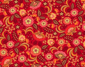 Red Floral Cotton Fabric from the Pieceful Gathering Collection by Studio e Fabrics