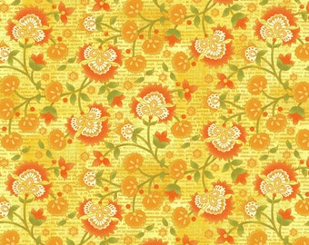 SALE - Yellow Jacobean Vine from the Jardinier Collection by Jennifer Brinley for Studio E Fabrics, Floral