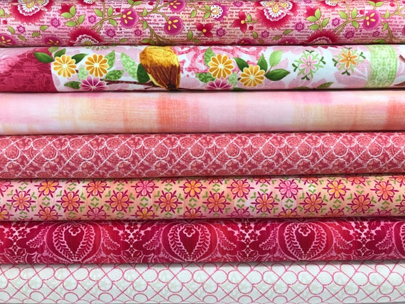 Bundle Of 7 Pink Fabrics From The Jardiniere Collection By Etsy