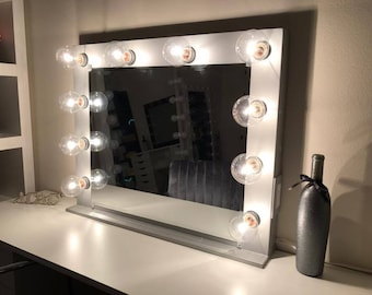 Vanity mirror etsy vanity mirror with lights dimmer and 2plug outlet aloadofball Choice Image