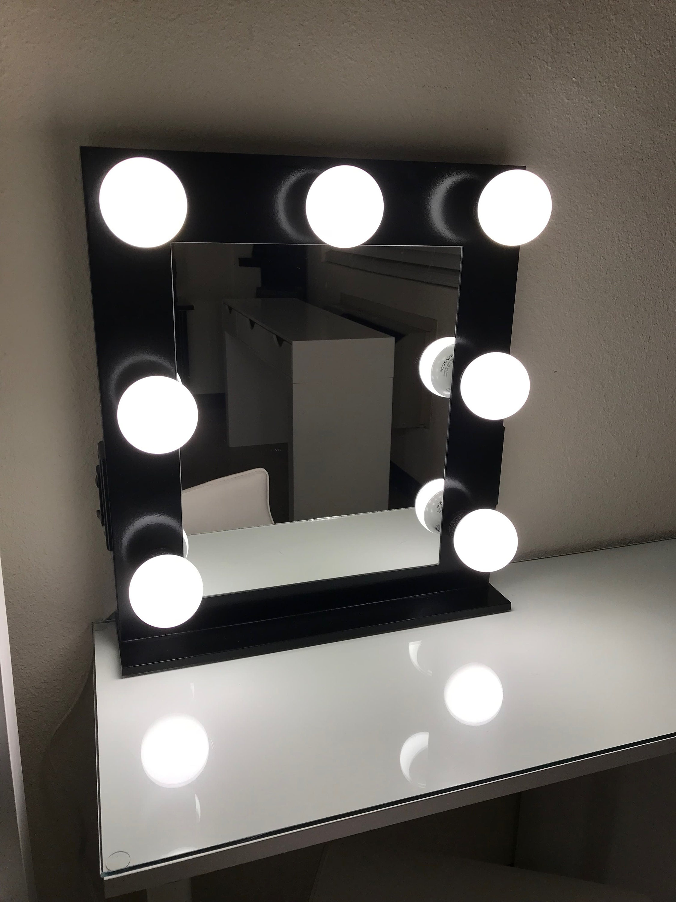 vanity mirror with lights dimmer 2 plug outlet etsy. Black Bedroom Furniture Sets. Home Design Ideas