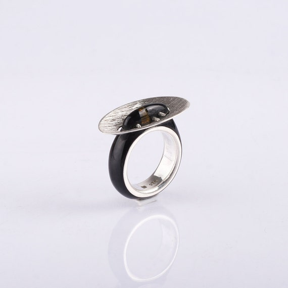 Unisex Ring Wedding Rings Unusual wedding ring Men Wedding Band Sterling silver wedding ring with horn