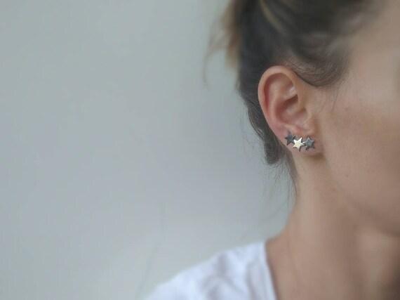 Simple Tiny Star Stud Earrings Ear Climber Cuff Earrings Ear Crawler Girl Gifts