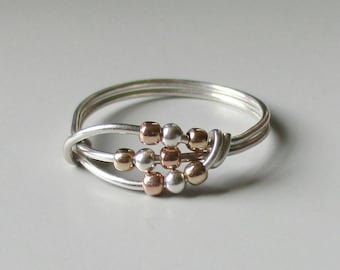 Deva Fidget Ring Sterling Silver Spinner Rose Gold Worry Wire Wrapped Stackable