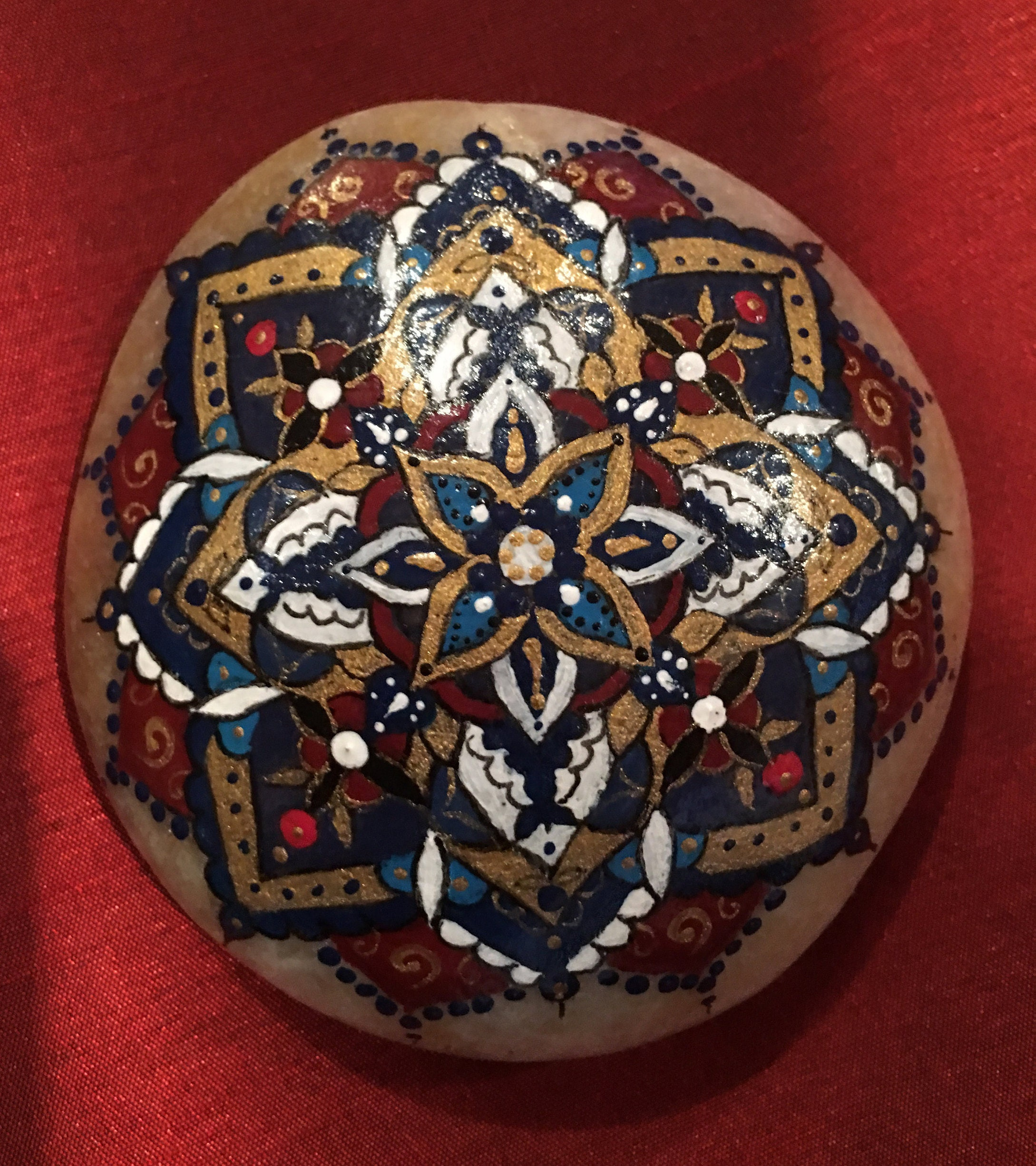 Hand painted bohemian mandala stone mandala art boho stone ...