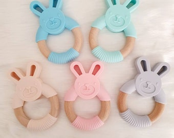 Bird Trimits Craft Ring Teether Elephant Macrame Accessories Teddy Bear Wooden Bunny Baby Toys
