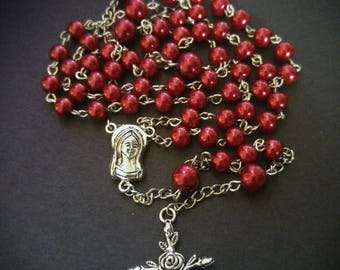 Rose Red Rosary with Rose Cross