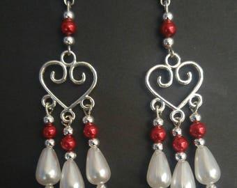 Red Heart Chandelier Dangle Earrings