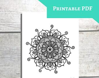 Printable Mandala Coloring Page Etsy
