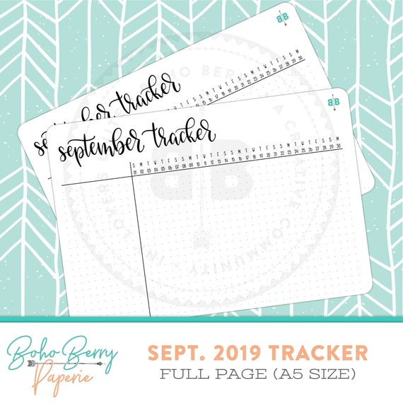 full page a5 september 2019 tracker sticker etsy