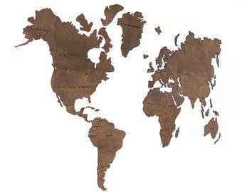 Wood world map | Etsy