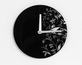 Black wall clock Unique wall clock Wall clock Black clock Modern wall clock