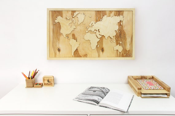 Large World Map Wooden World Map Wall Art Wooden World Map Etsy