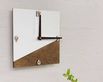 Wall Clock, Wooden Clock, Wood Clock, White Wall Clock, Wooden Wall Clock, Unique Wall Clock, Modern Wall Clock, Modern Clock, Wall Clocks