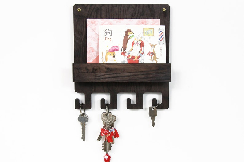 Wood key holder Entryway organizer Mail and key holder for image 0