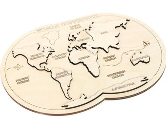 Montessori toys - Educational toys - Toddler wooden toy - Kids puzzle - World map puzzle - Educational puzzle