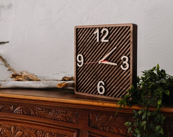 """Wooden free standing clock 12x12"""", Wood clock for home decor, Rustic wood clock, Wooden clock wedding gift for couple, Housewarming gift"""