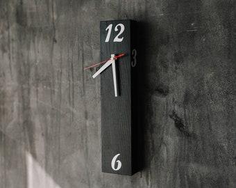 "Unique wall clock, 15.7x3.5"", Industrial wall clock, Rustic wood wall clock, Wooden wall clock, Housewarming gift home decor"