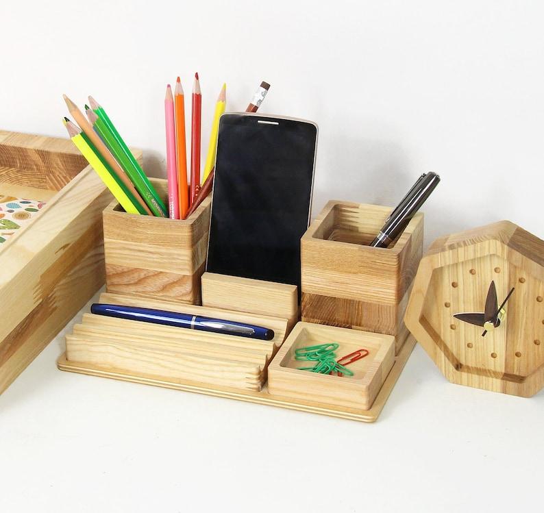 Wood desk organizer Boyfriend birthday gift Coworker Christmas image 0