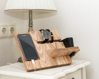 Wooden docking station, Christmas gift for men, Wood charging station, Charging dock for dad, Birthday gift for father