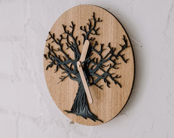 Rustic wood wall clock with tree decor, Wooden wall clock, Tree of life CLOCK, Unique wedding gift for couple, First home Housewarming gift