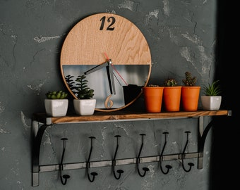 Unique wooden wall clock, Industrial wall clock, Wood clock for wall and shelves, Rustic wood wall clock, Wedding gift for couple