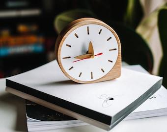 Wood clock for desk, Modern table clock, Small desk clock, Office desk organization, Gift for dad, gift for boyfriend, graduation gift