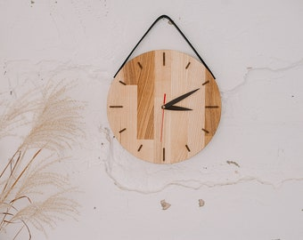Rustic wood wall clock with leather handle, Wooden wall clock, Unique wood clock, First home Housewarming gift, Christmas gift