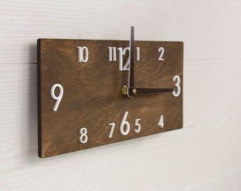 Wood clock Industrial clock Modern wall clock Wooden wall clock Rustic wall clock