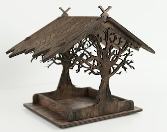 Wooden bird house for garden, Hanging bird feeder gift for her, Garden gifts for mom, Housewarming gift
