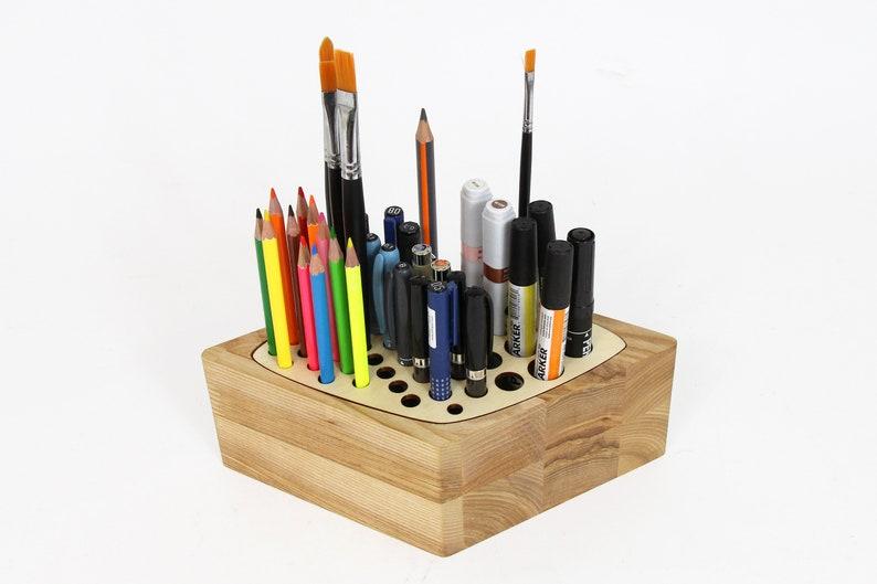 Remarkable Wood Desk Organizer Pen Stand Wooden Pencil Holder Wood Pen Holder Home Interior And Landscaping Oversignezvosmurscom
