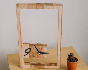 """Tabletop modern clock 15.5x8"""", Wooden clock free standing, Wood clock for desk, New home housewarming gift, Wedding gift for couple"""