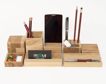 Desk organizer CHOOSE YOUR BOXES, Desk organization, Wooden desk organizer, Birthday gift for dad, Desk organization gift for him