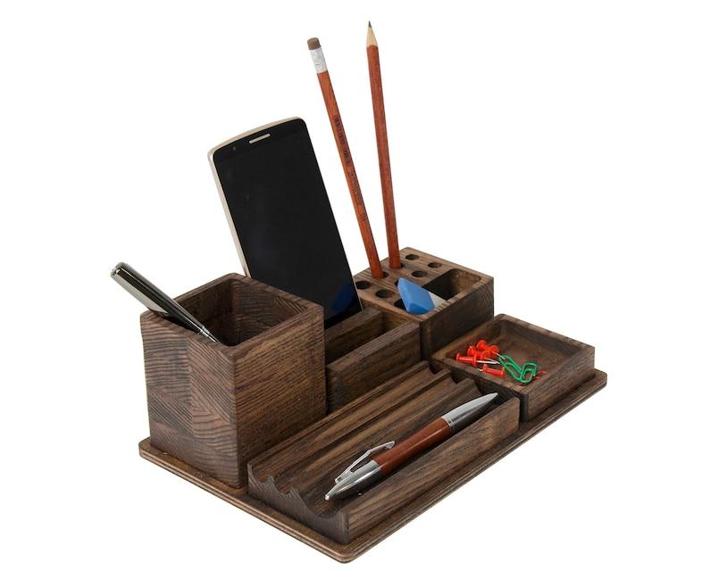 Wooden desk organizer Desk organization Office organization image 1