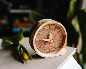 WOODEN modern table clock, Small desk clock, Wood clock for desk, Office desk organization, Gift for dad, Christmas gift for him