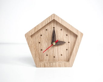 Wooden Clock, Small Clock, Desk Accessories, Desk Clock, Table Clock, Wood Clock, Father Of The Bride Gift, Father Of The Groom Gift