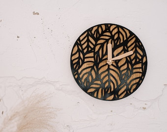 Wooden wall clock, Rustic wood clock, Unique wedding gift for couple, First home Housewarming gift, Boho wood wall art