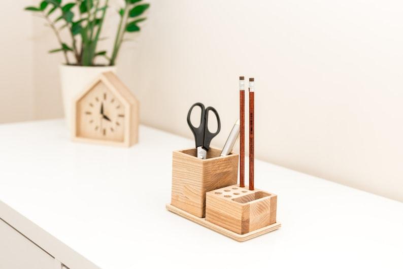 Wood pencil holder Desk organization Pencil storage Wooden image 0