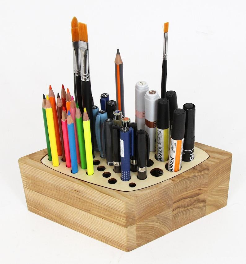 Wood desk organizer Pen stand Wooden pencil holder Wood pen image 0