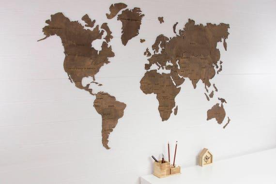 World Map Wall Art Wooden World Map World Map Poster World | Etsy